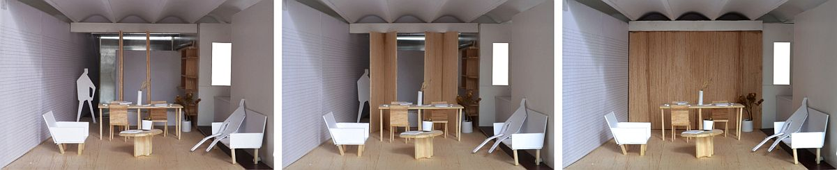 Folding wooden doors help create a variety of compositions inside the apartment