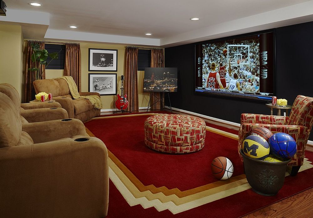 Fun and smart media room can be easily transformed into a sports-themed space