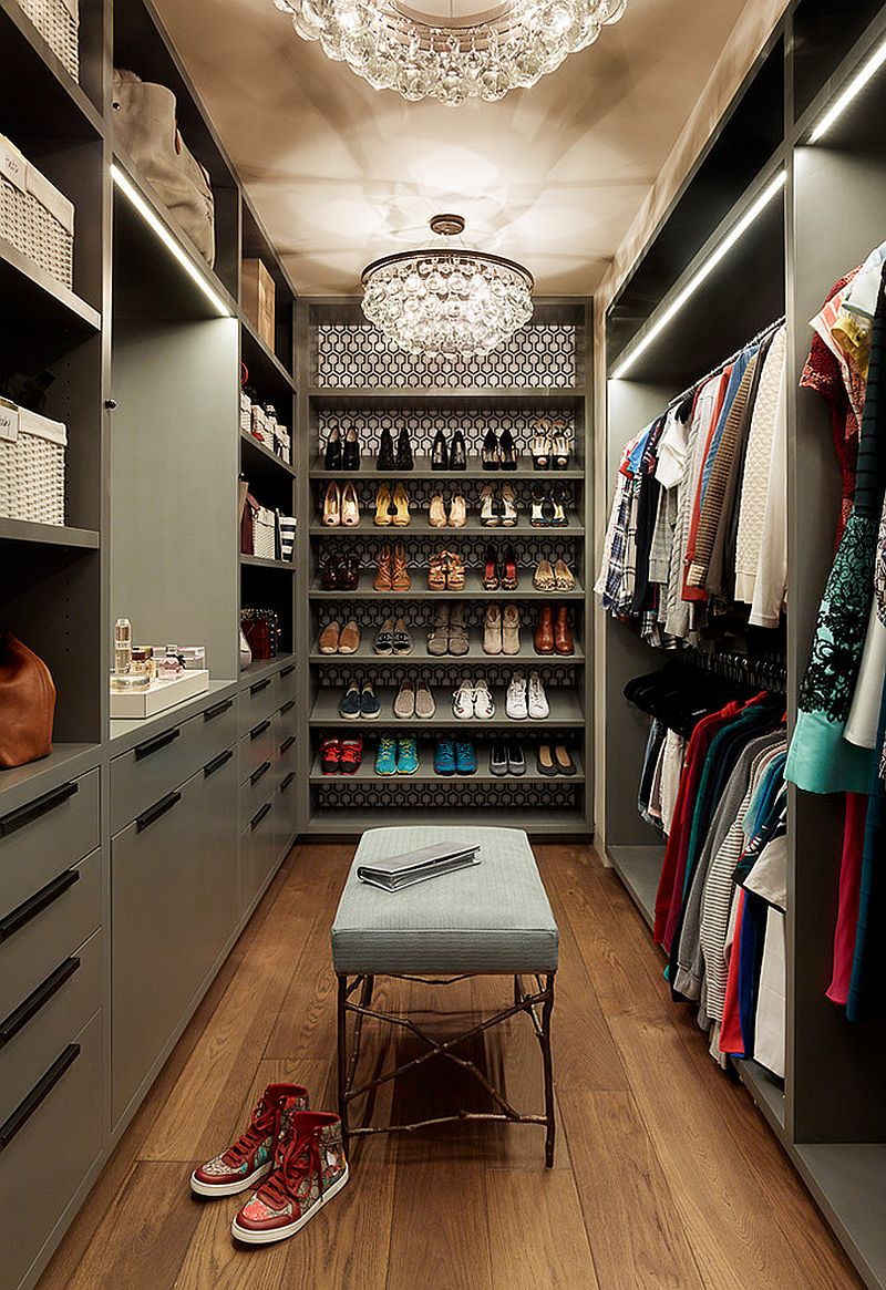 Gorgeous-eclectic-closet-in-gray-with-lovely-chandelier-lighting