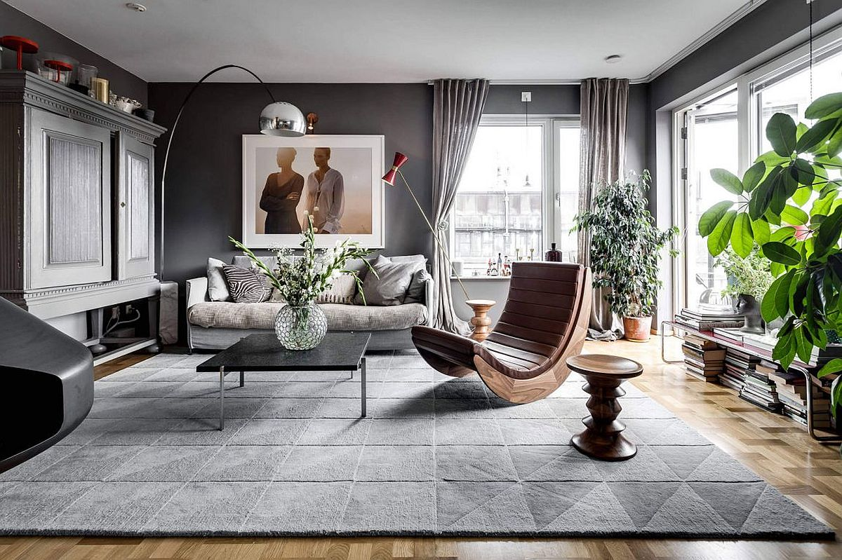 Gorgeous gray living space of the light-filled Stockholm apartment