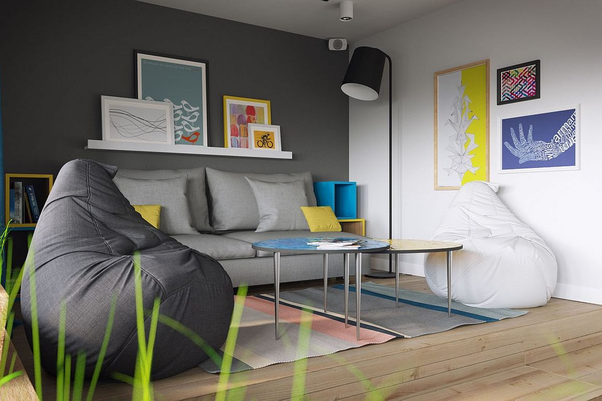 Gray living room of uber-small 34-square-meter apartment