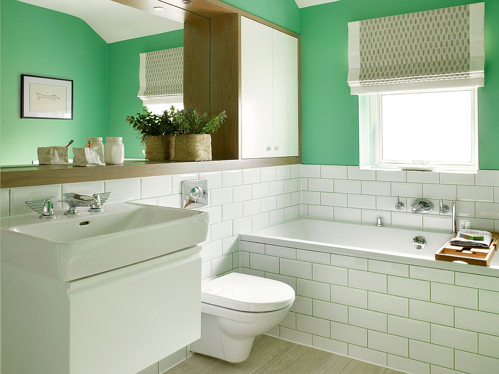 Green grout lines feel chic and understated in this relaxing bathroom