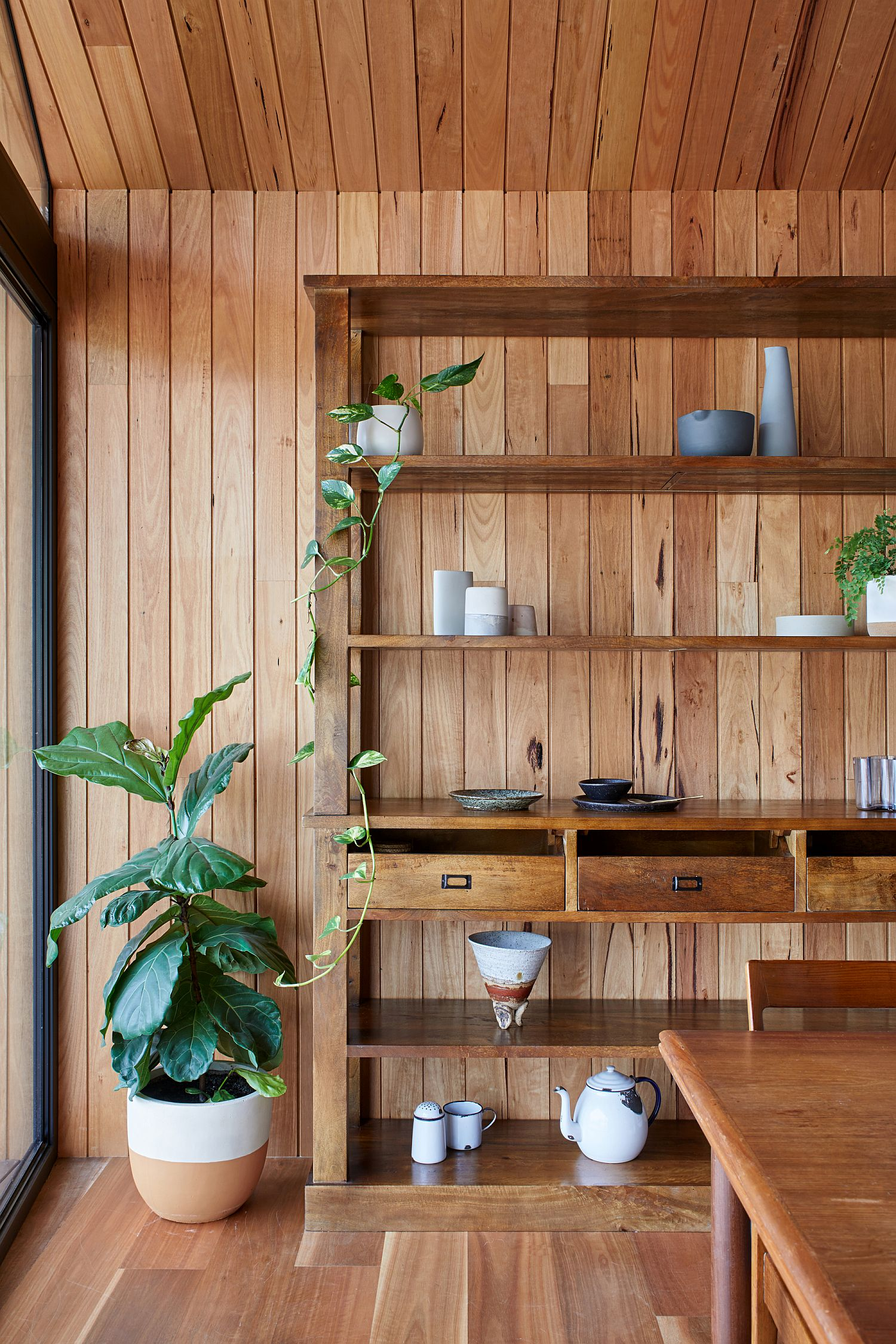 Greenery-and-wooden-boards-give-the-extension-a-cozy-modern-appeal