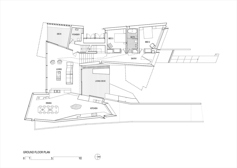 Ground floor plan of the gorgeous beach house