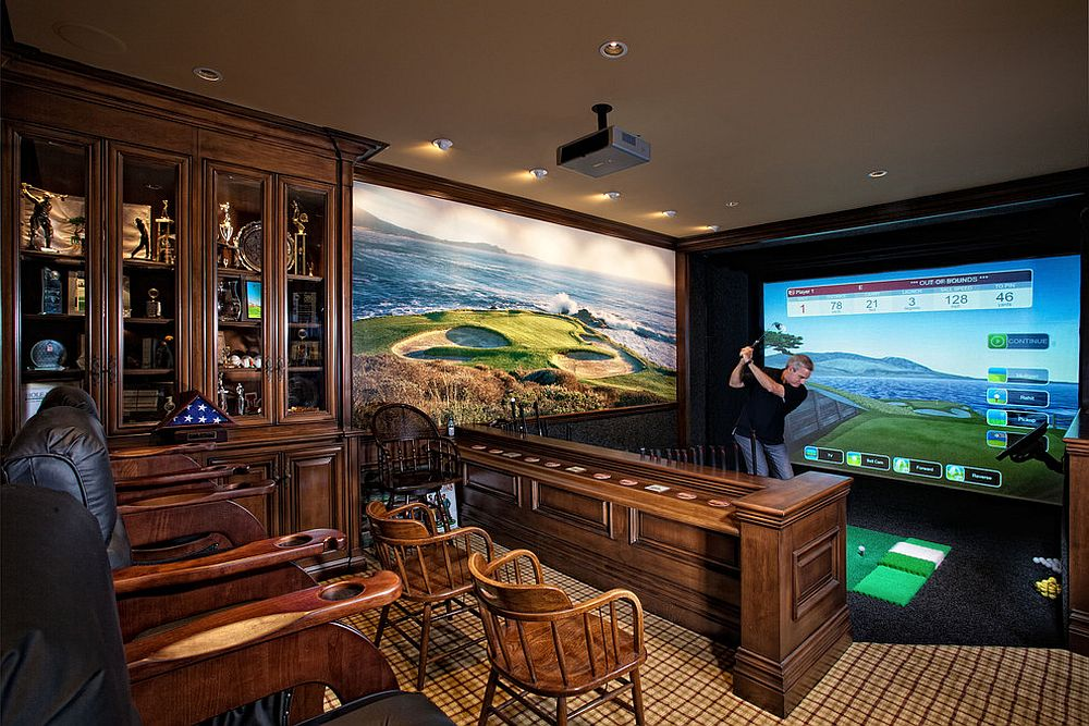 Home theater and game room with golf simulator rolled into one