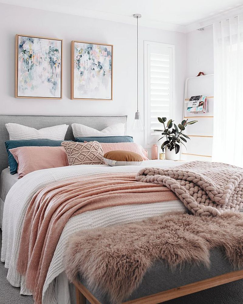 Introduce pastels into the bedroom using bedding and throw pillows