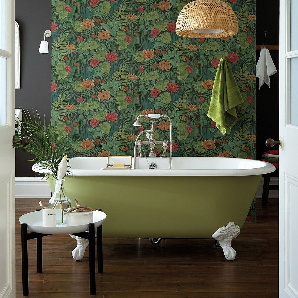 Jungle wallpaper is the showstopper inside this retro inspired bathroom