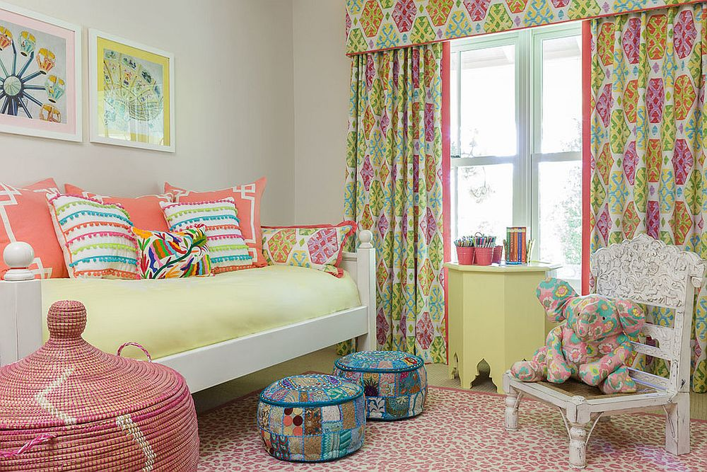 Light and dark yellow hues coupled with pinks in the kids' bedroom