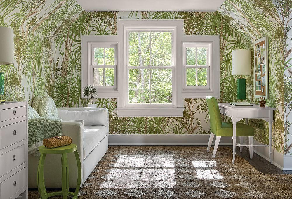 Light-filled-home-office-with-tropical-wallpaper