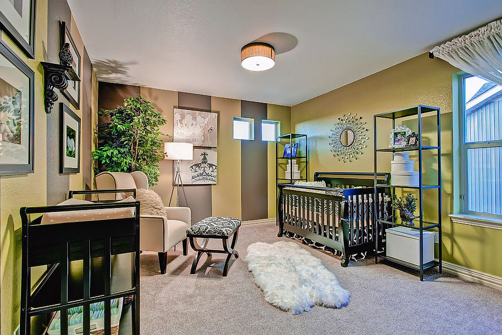 Lime green and brown stripes give the spacious midcentury nursery a vivacious appeal
