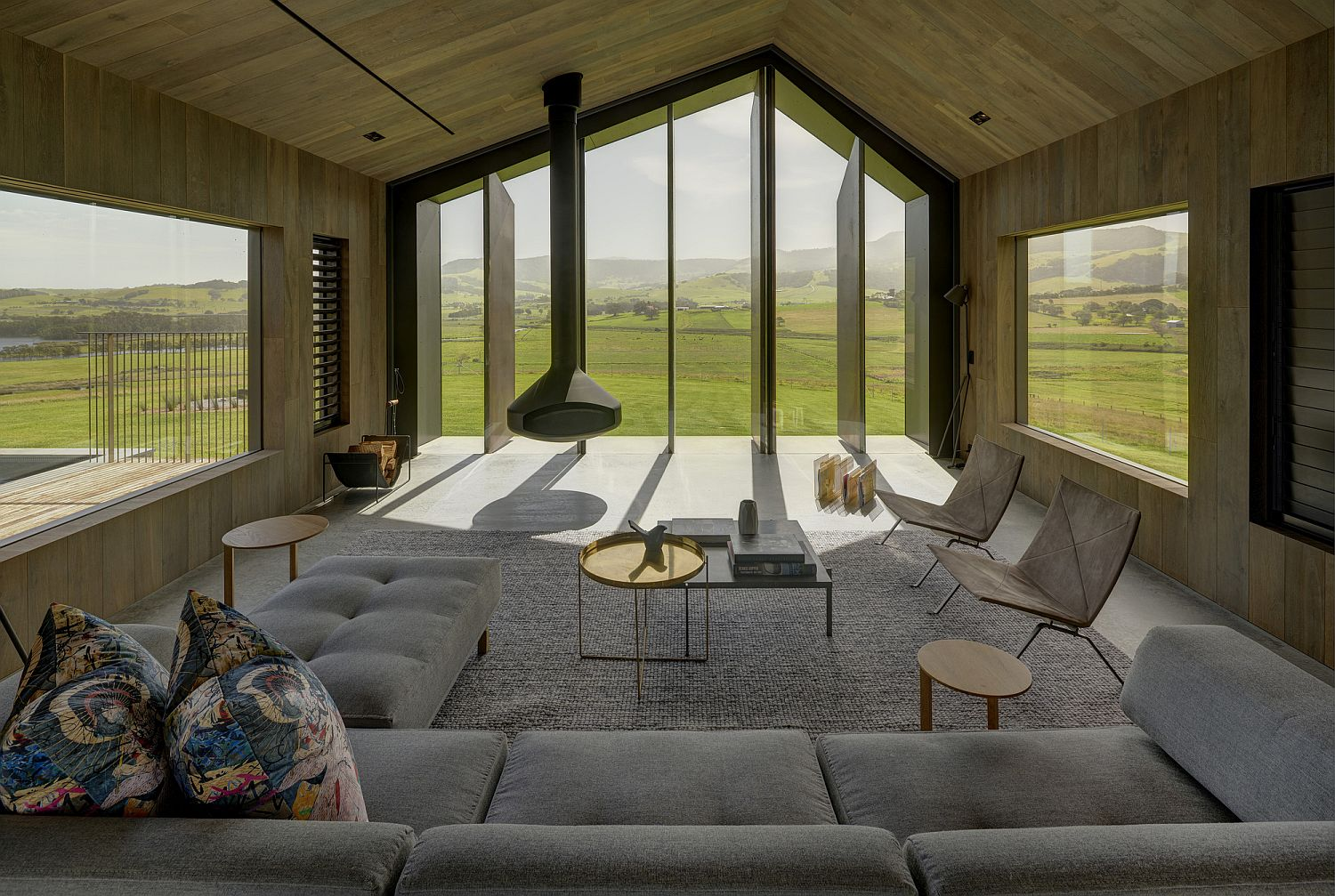 Living area with beautiful views of the green landscape outside