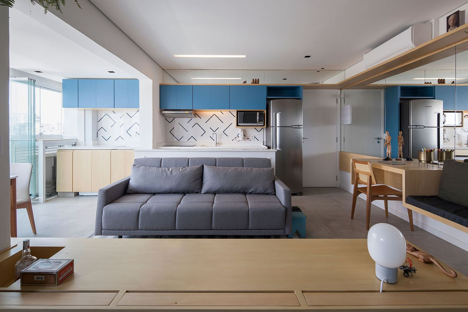 Living room of 38 square meter apartment feels much larger than it really is!