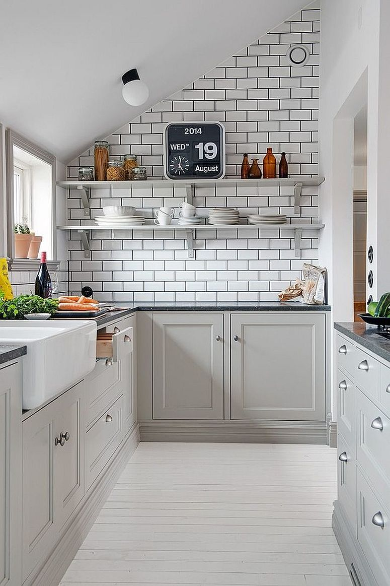 Minimal, Scandinavian style kitchen in white with subway tile backsplash