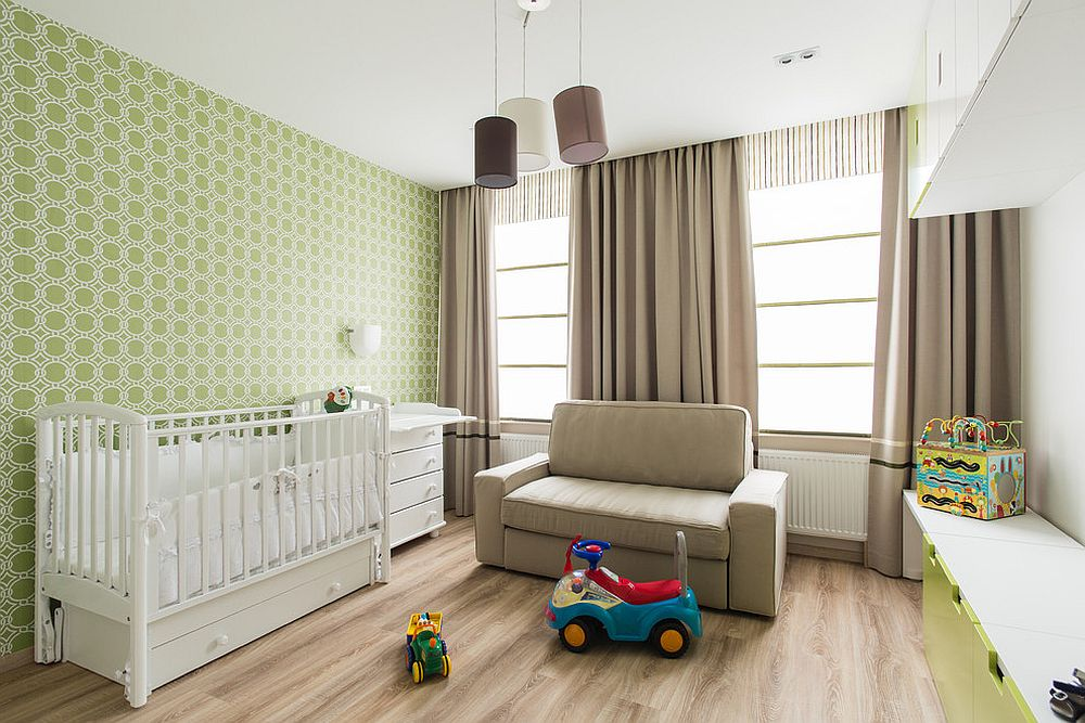 Minimal modern nursery with wallpaper in green