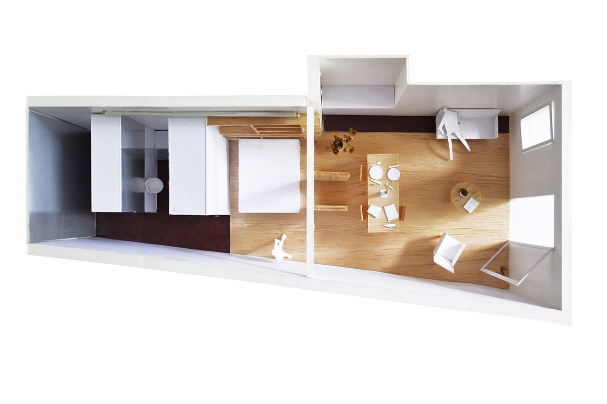 Model representing the space-savvy and modern apartment renovation in Barcelona