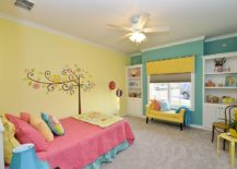 Modern-eclectic-kids-room-in-yellow-and-blue-with-a-smart-wall-mural-217x155