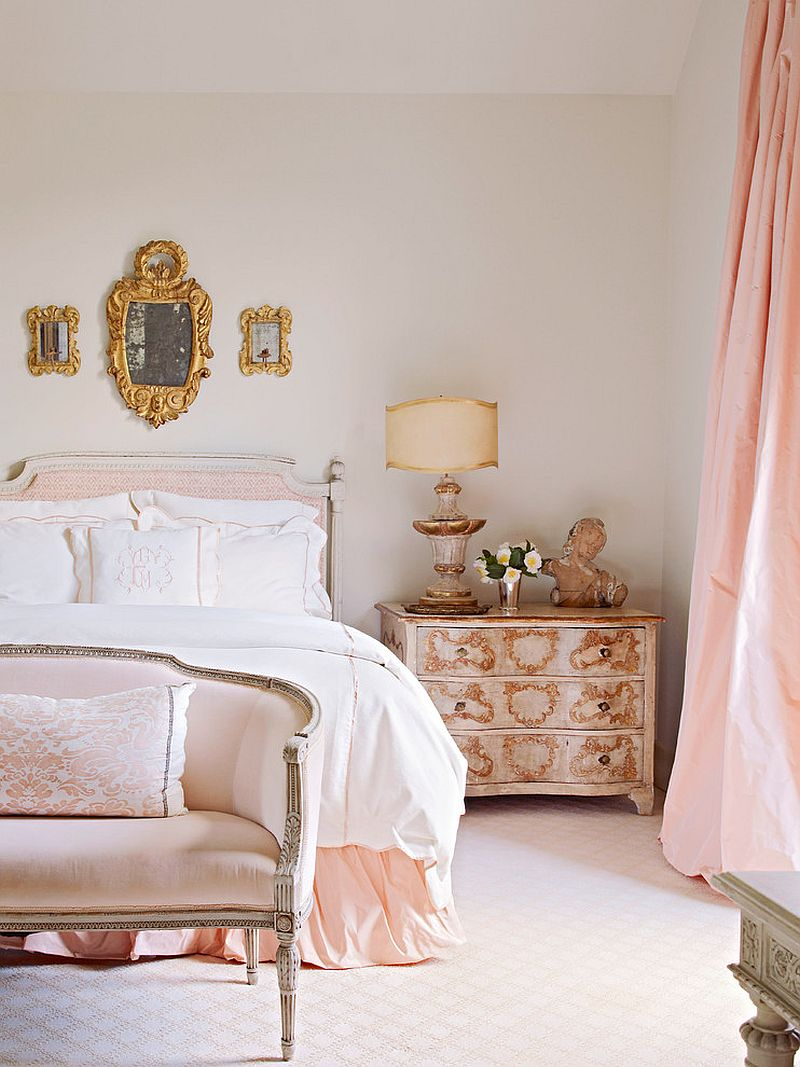 Modern shabby chic styles bedroom in white with a touch of pastel pink