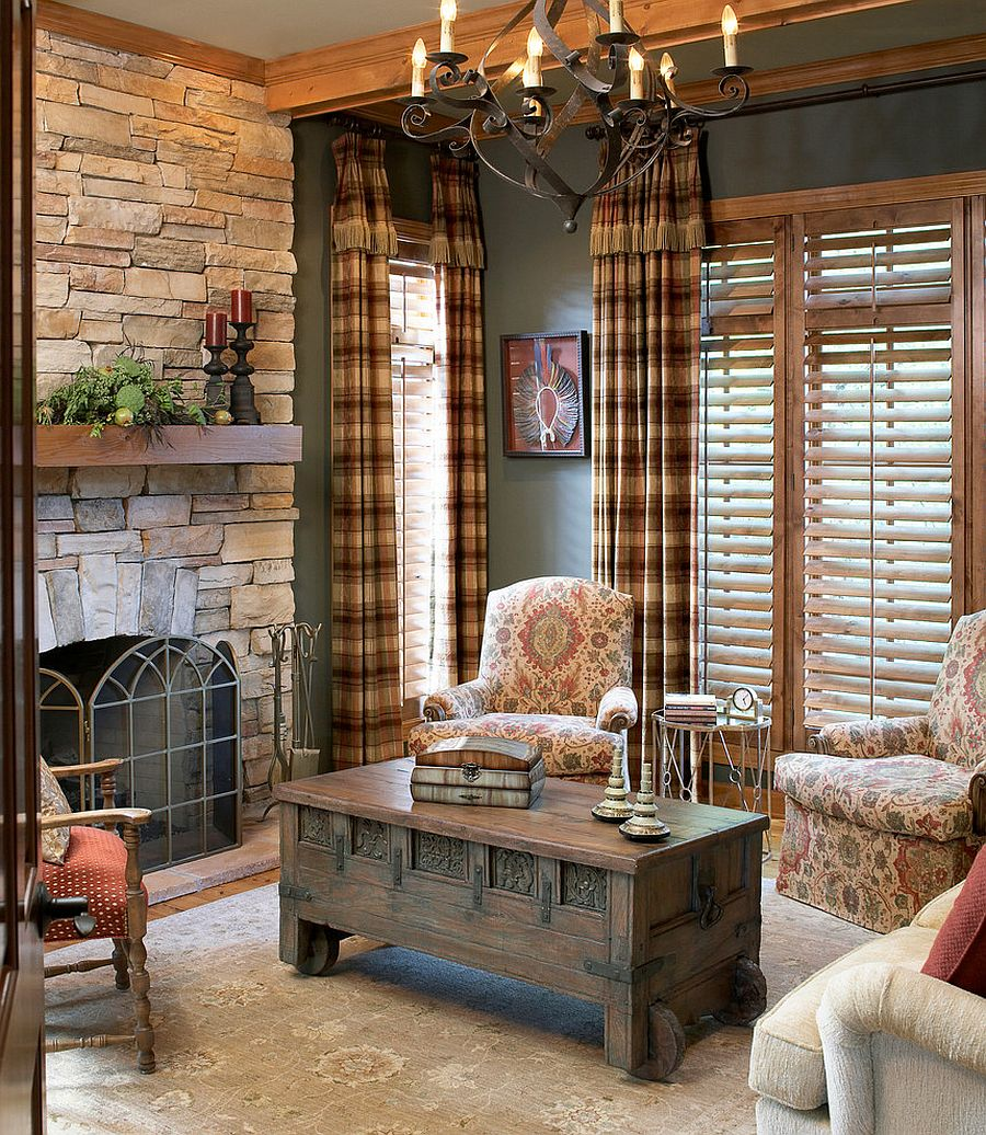 Modern traditional living room brings together both styles