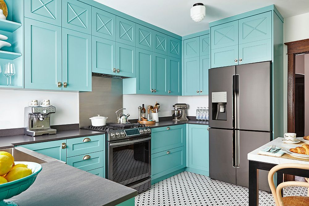 Modern tropical style kitchen with cabinets in turquoise