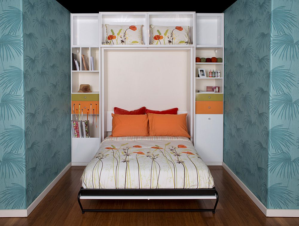 Murphy-bed-in-the-small-niche-with-wallpapered-walls