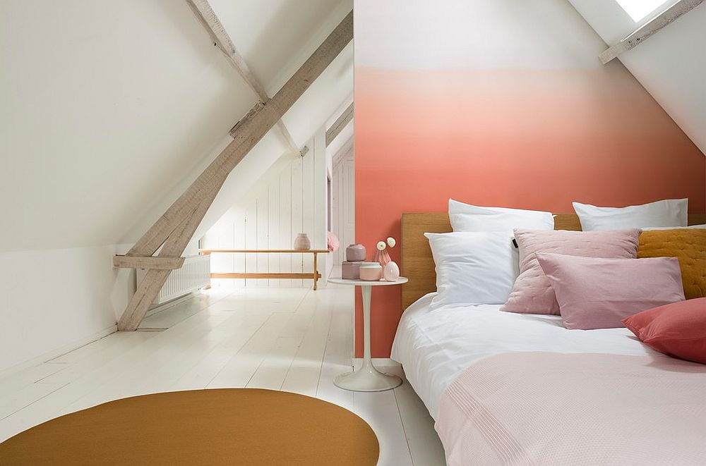 Ombre effect coupled with shades of coral and pink in the small bedroom