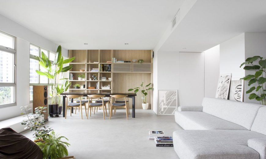 Sliding Partitions and Indoor Garden Transform this Modern Singapore Apartment