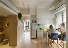 Open-plan-living-brings-together-kitchen-and-dining-inside-the-small-apartment-217x155