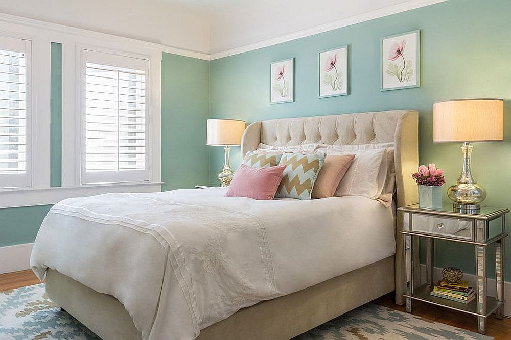 Pastel green gives the bedroom a modern summery vibe