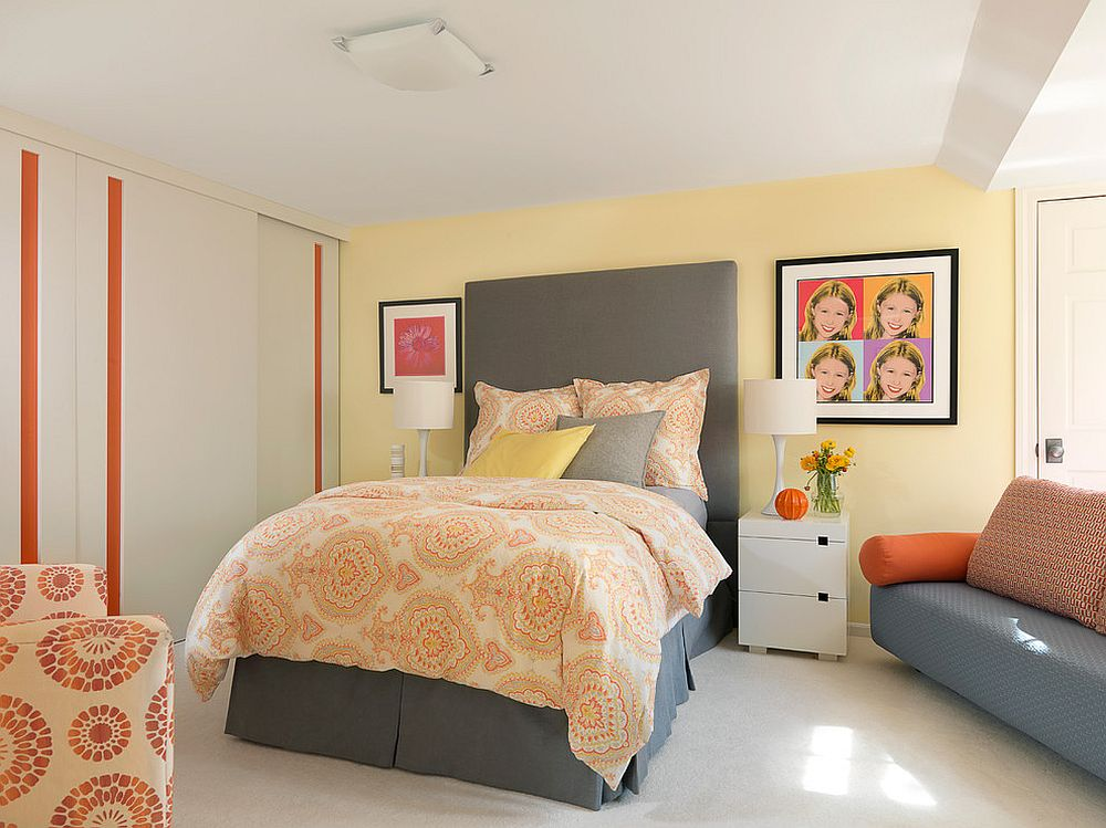 Pastel yellow wall for the bedroom in white