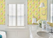 Pineapple-motif-wallpaper-for-the-white-and-gray-bathroom-217x155