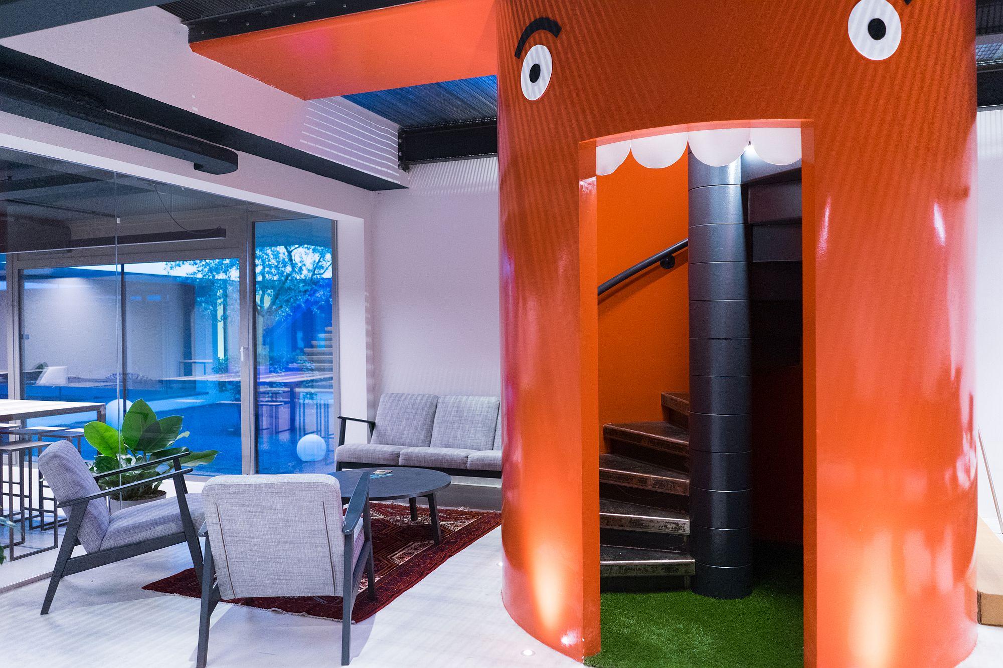 Pops of color and imaginative decor brighten the office