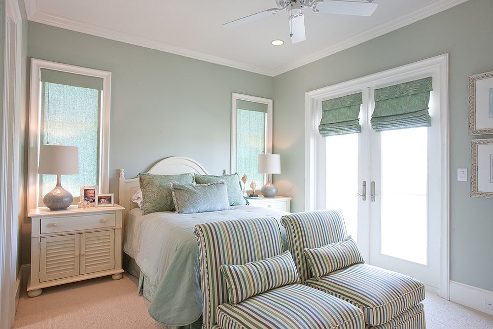 Relaxing traditional bedroom in pastel green and white