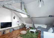 View In Gallery Ultra Small Student Apartment Living With Loft Bed Above  And Steps With Storage