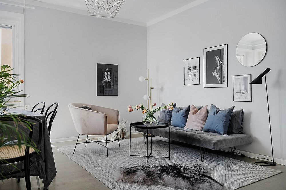 Scandinavian style is perfect for the small apartment living room