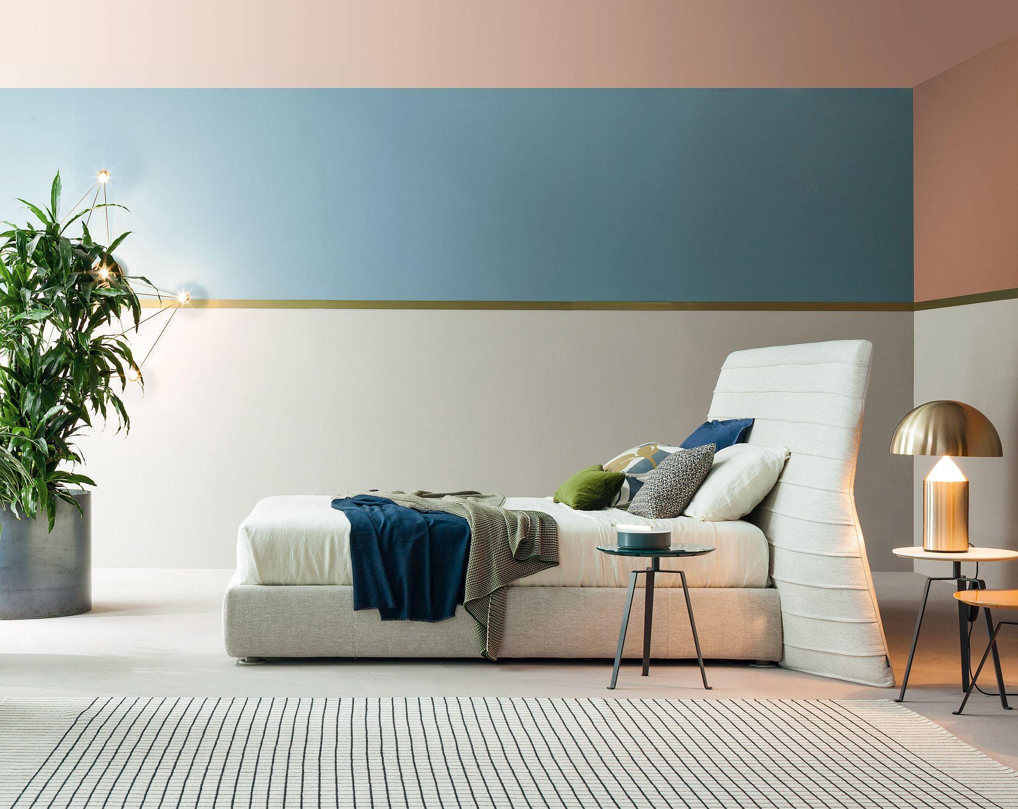 Slim and elegant bed designed by Mauro Lipparini