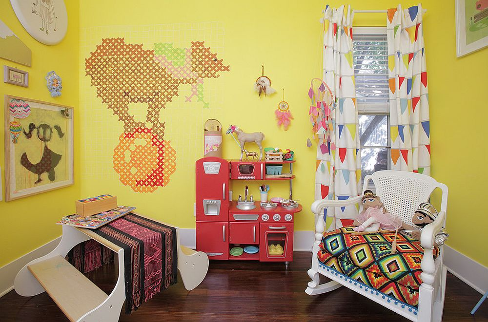Small and colorful kids' room with a loads of yellow