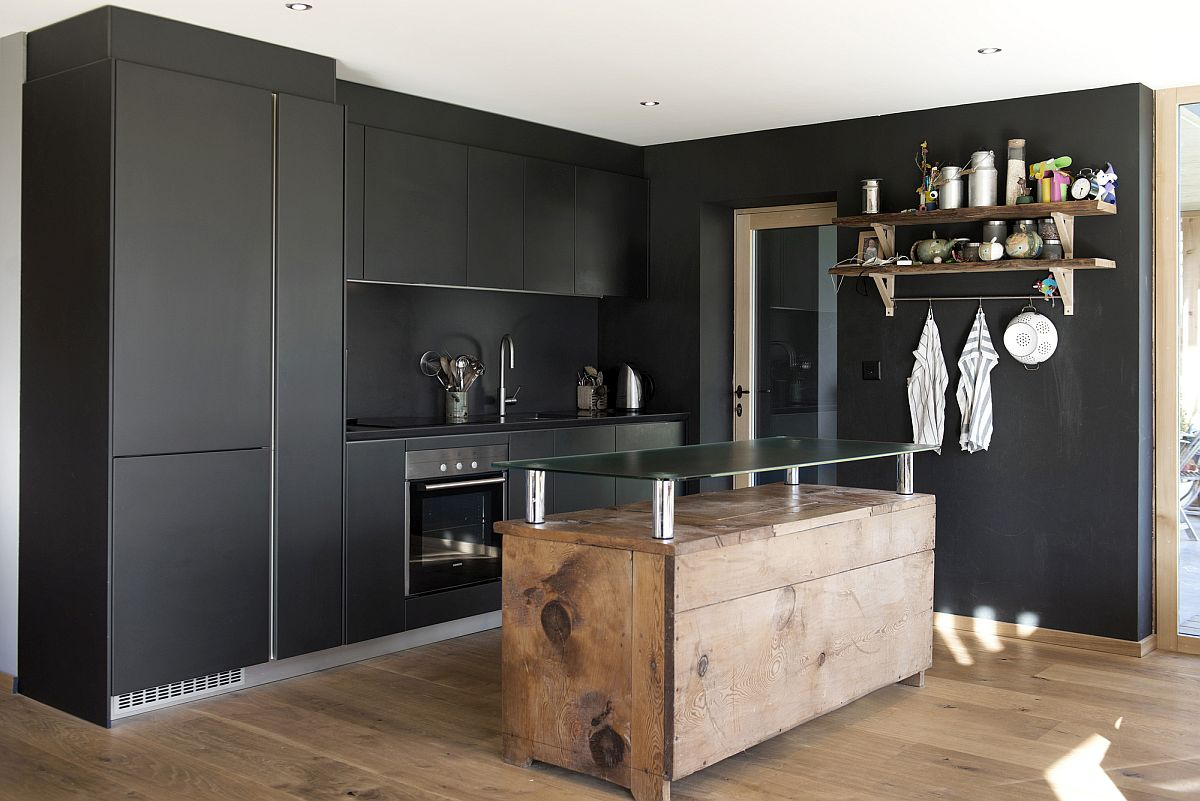 Small-central-wooden-island-for-the-kitchen-in-black