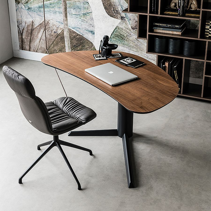 Small office desk also ushers in geometric contrast