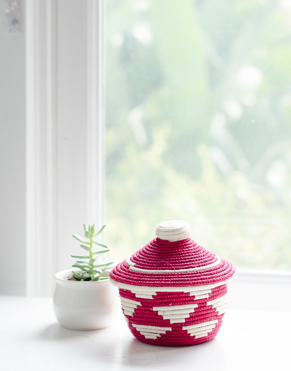 Small vibrant pink basket