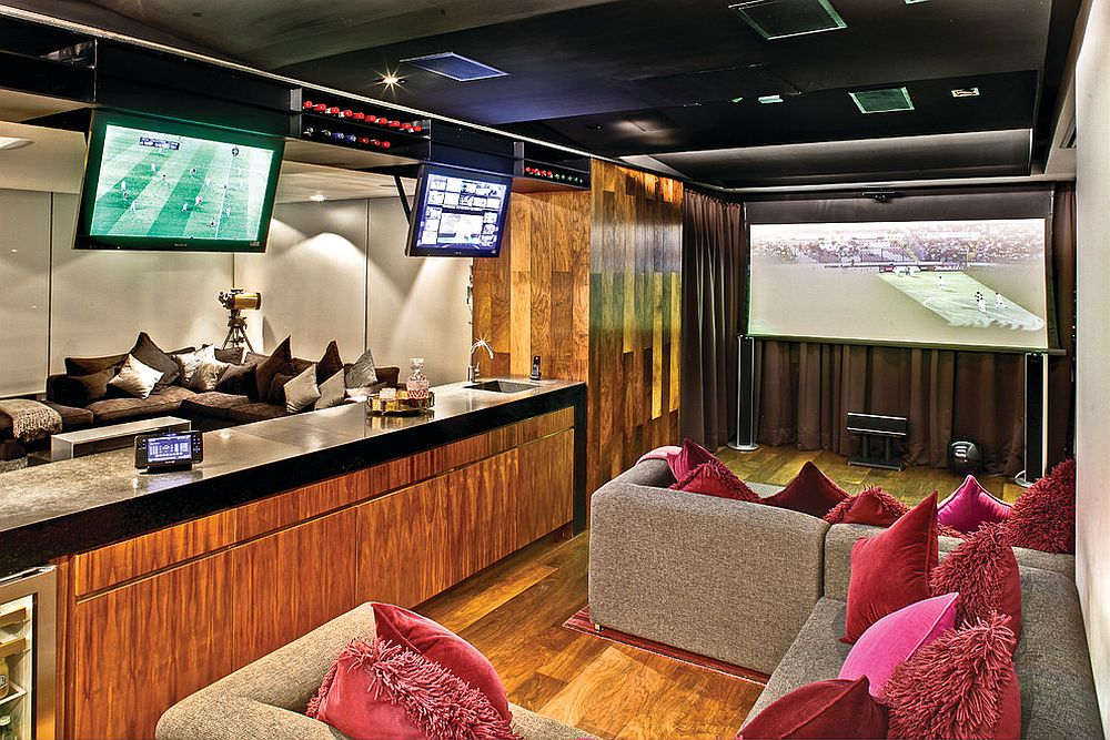 Spacious and high-end home theater for the sports mad fan