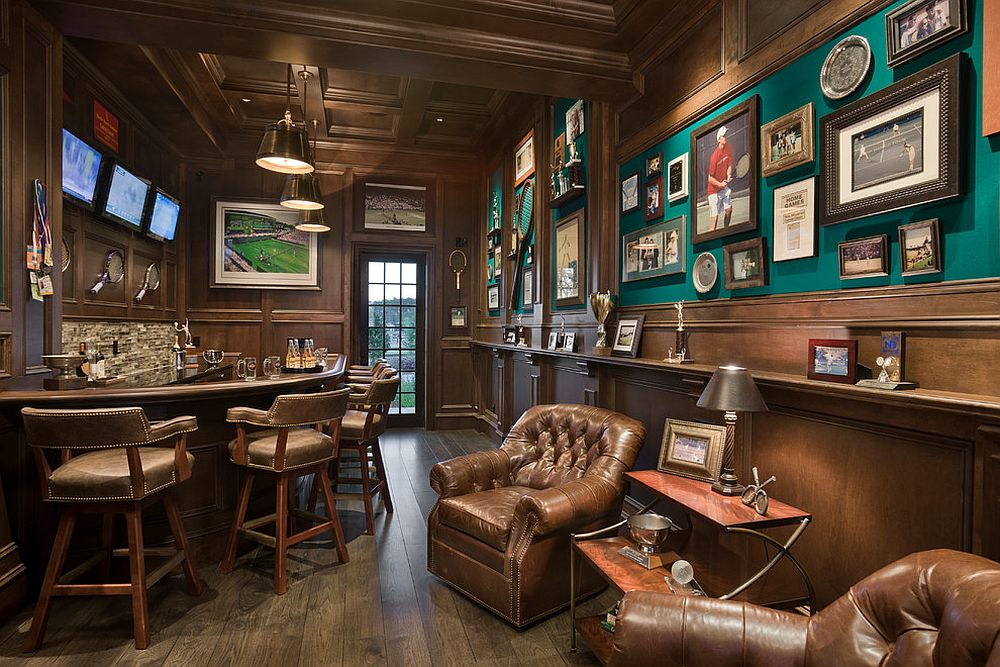 Sports bar inspired home theater is great for catching up with the sports fever around!