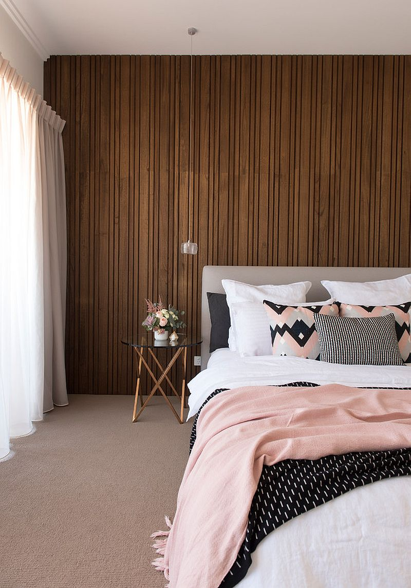 Start out small with lighter shades of pink in the contemporary bedroom