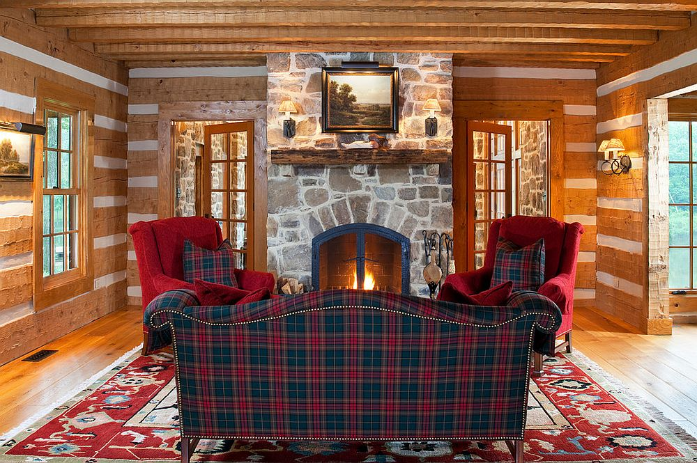 Stone fireplace and the plaid sofa is a match made in design haven!