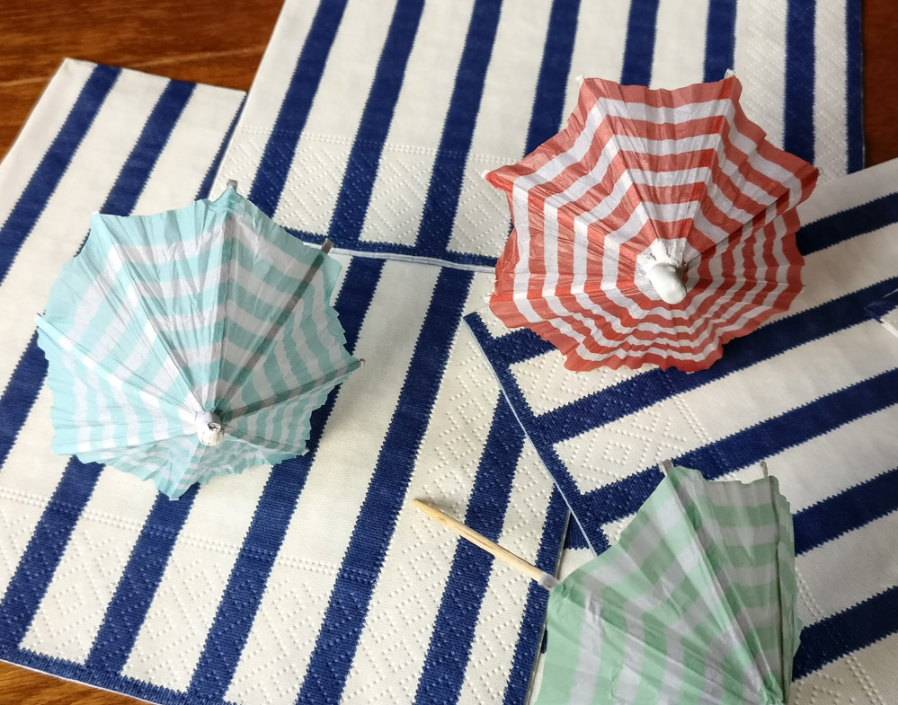 Striped drink umbrellas