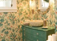 Stylish-tropical-bathroom-with-colorful-wallpaper-217x155