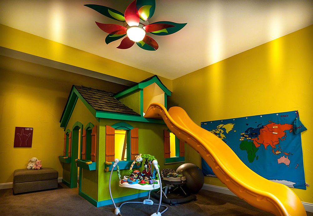 Super-fun eclectic kids' room in yellow with slide and playroom