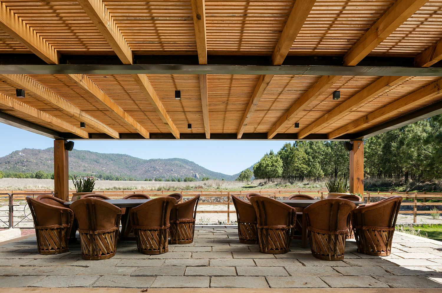 Sweeping, covered wooden deck with lovely views
