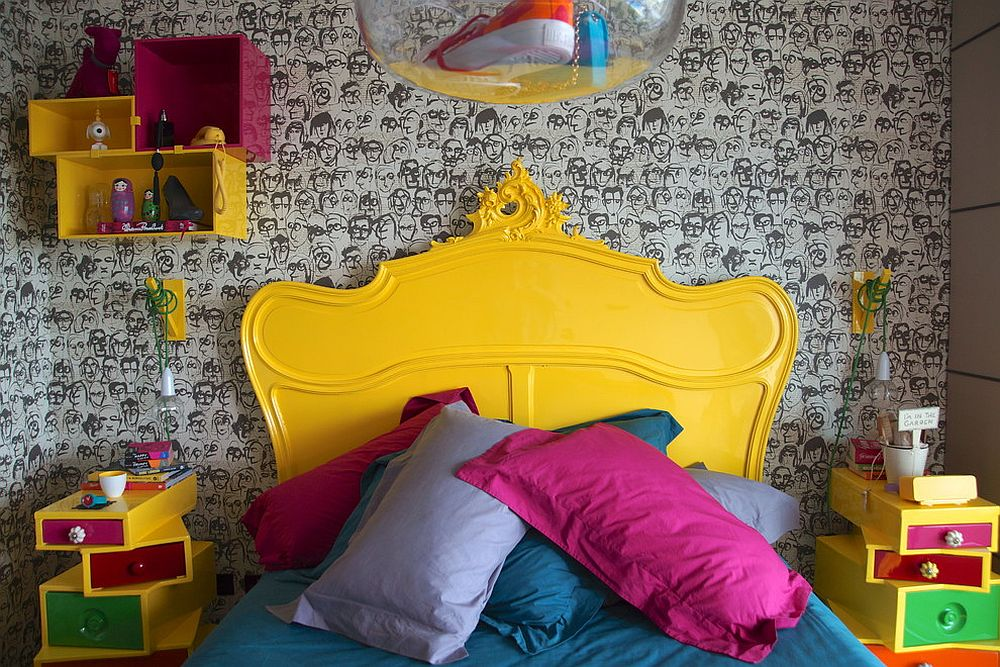 Tiny kids' bedroom full of eclectic beauty and yellow and pink pops