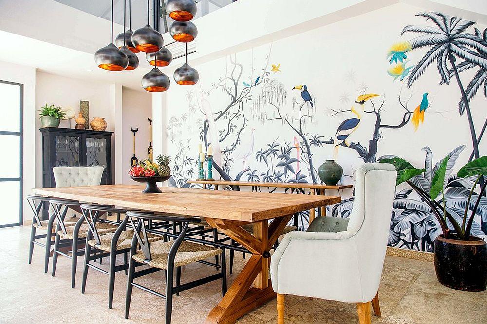 Tom-Dixon-pendant-lights-for-the-white-dining-room