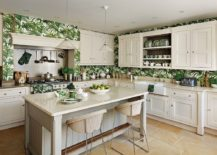 Traditional-kitchen-in-white-with-tropical-wallpaper-217x155